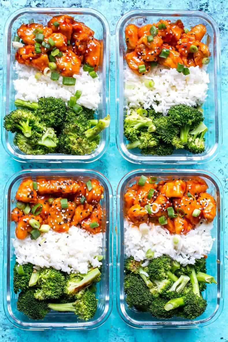 4 containers of Honey Sriracha Chicken Meal Prep for beginners