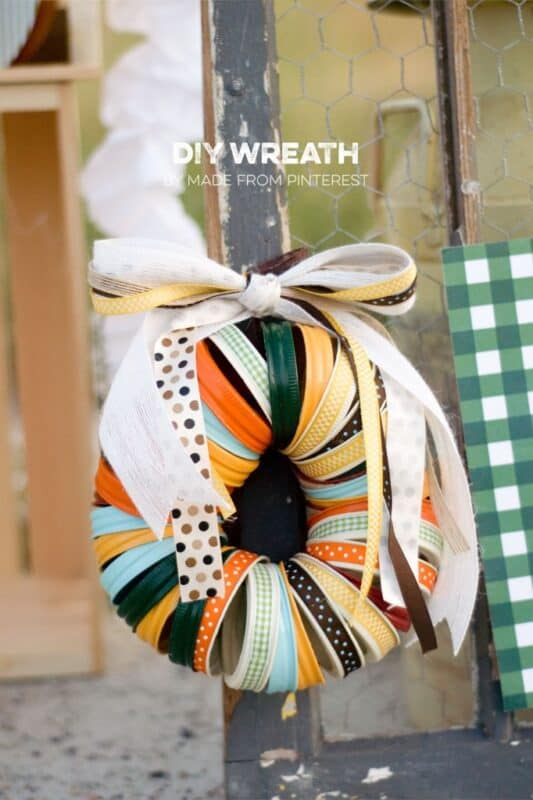 Colorful mason jar lids halloween wreath