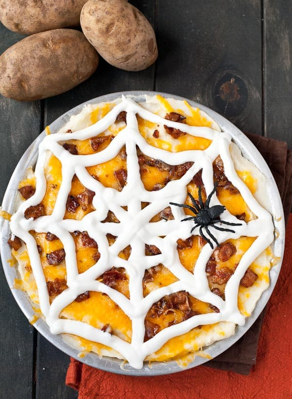 Creepy Spider mashed potato casserole