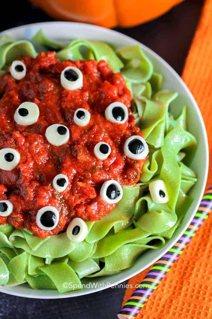 Eyeball Pasta for Halloween