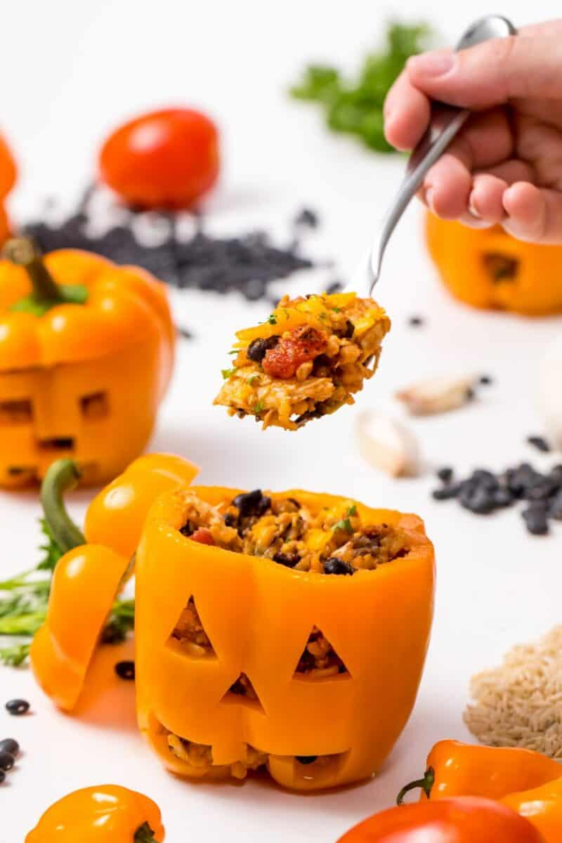 Jack-O-Lantern chicken and-rice stuffed peppers