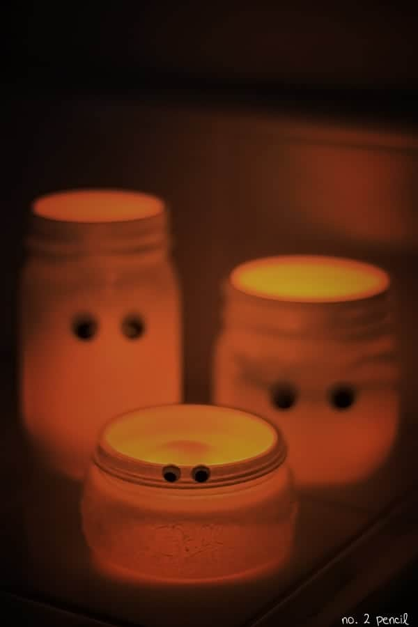 Jar ghost candle holders