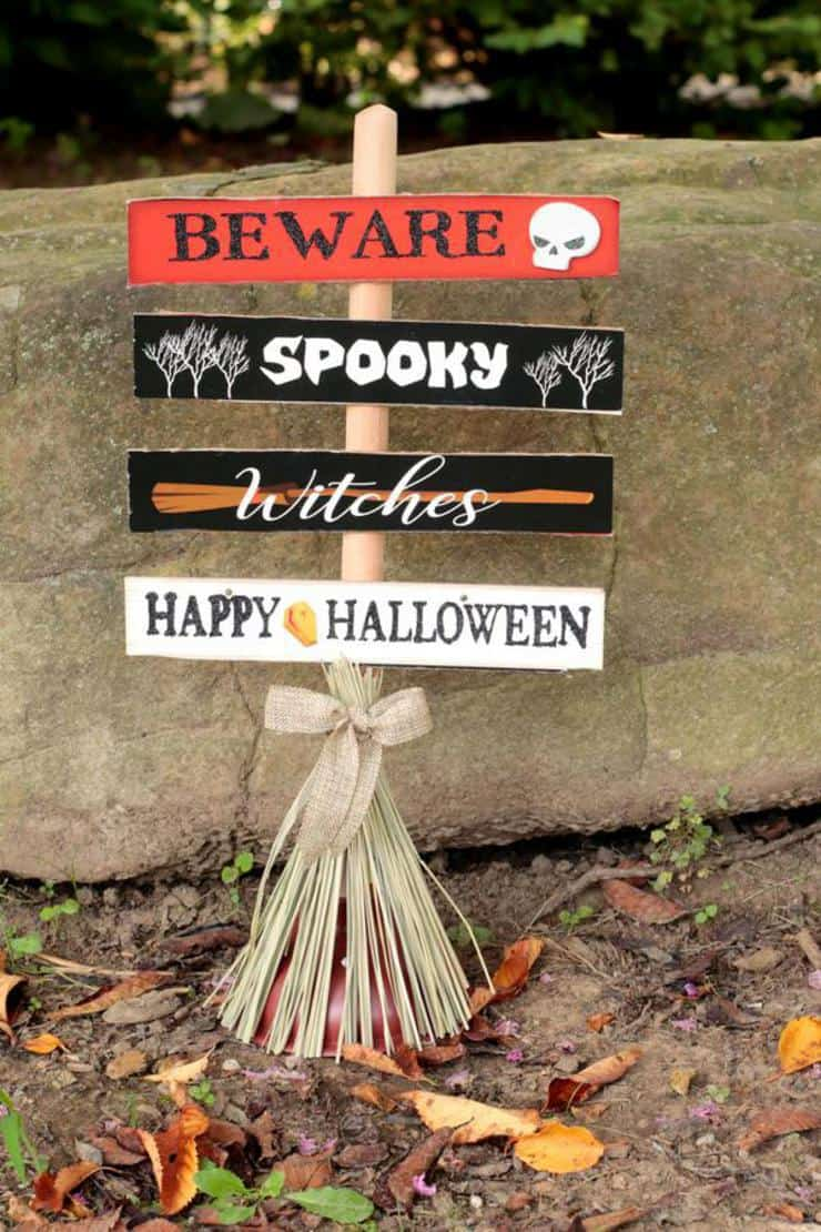 Witches beware halloween sign