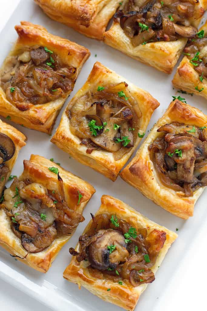 Caramelized onion bites with mushrooms easy thanksgiving appetizer