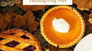 Thanksgiving pies blueberry pie and pumpkin pie.