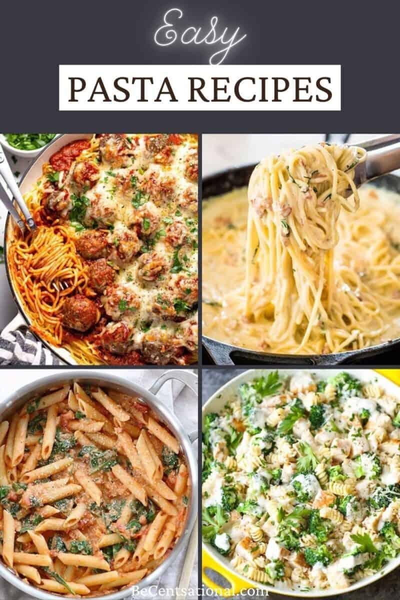 easy pasta recipes. four pasta dinners, Spaghetti with meatballs, creamy carbonara pasta, chicken broccoli alfredo and penne alla vodka.