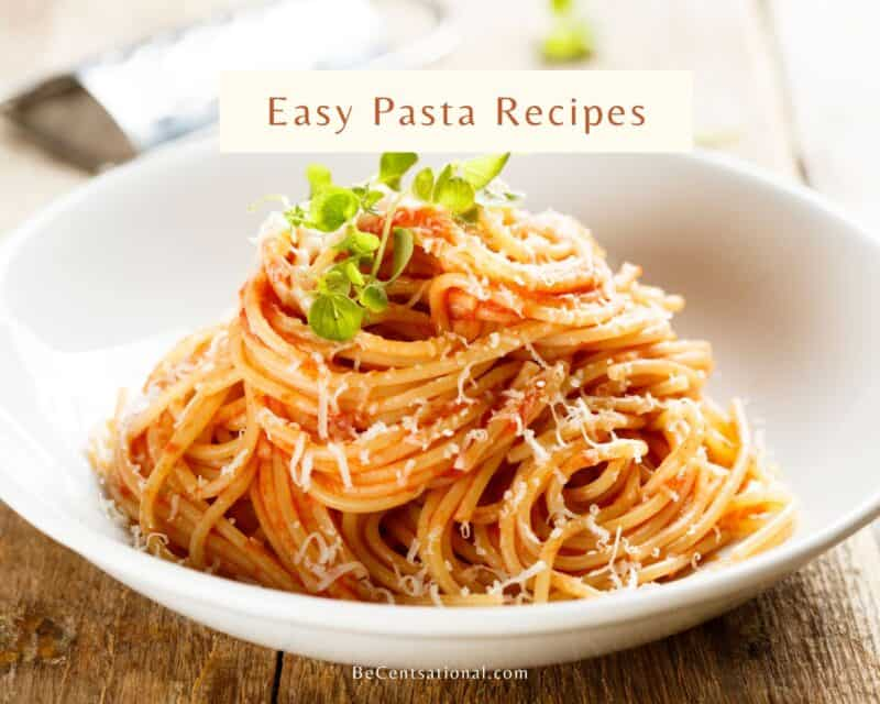 Easy pasta recipe with tomato sauce served on a white bowl.